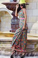 Яркое женское летнее платье в пол со вставками из трикотажа спина открытая без рукавов крепдешин