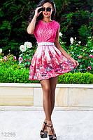 Летнее короткое женское платье из разноцветного гипюра на цветном подкладе рукав короткий потайная молния