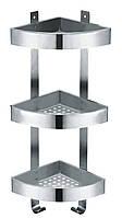 Тройная, угловая полочка-сетка с крючками для ванной комнаты 29970 из нержавеющей стали ТМ Trento ANGOLARE