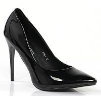 Черные женские лаковые туфли на шпильке