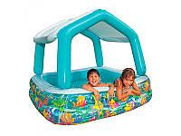 Детский надувной бассейн Intex 57470 квадратный, со съёмной крышей, 157-157-122 см