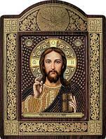 Набор с фигурной рамкой для вышивания бисером икона Христос Спаситель