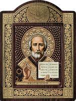 Набор с фигурной рамкой для вышивания бисером икона Св. Николай Чудотворец