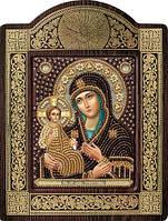 Набор с фигурной рамкой для вышивания бисером икона Богородица «Троеручица»