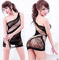 Шикарный женский пеньюар - платье в сетку черный