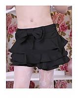Детская школьная юбка-шорты для девочки B10 (черная и темно-синяя)