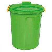 Ведро - контейнер для мусора 75 л с крышкой, зеленый