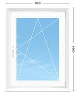 Окно открывающееся, 800 х 1400, 4 камерный профиль, двухкамерный, энергосберегающий стеклопакет