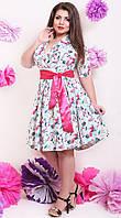 Модное женское платье с атласным пояском