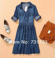 Платье джинсовое на кнопках