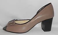 Женские бежевые туфли с открытым носком с бантиком на каблучке