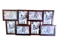 Рамка для фотографий, большая на 8 фото (дерево)