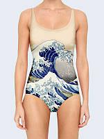Сплошной женский купальник Волна