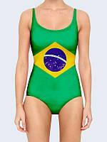 Женский сплошной купальник С флагом Бразилии