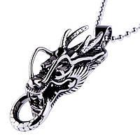 Кулон женский Голова дракона (сталь)
