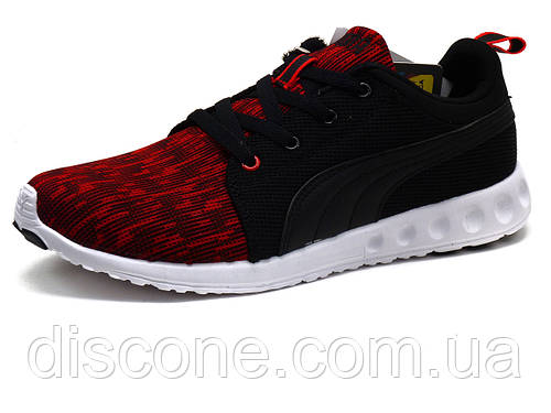 Кроссовки мужские летние Puma Carson Runner Glitch, текстильные, черные/ красные, р. 42 43 44