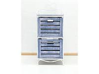 Кованая тумба (полка металлическая) 2 вертикальная белая синий ящик