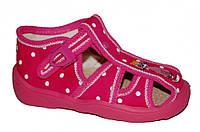Детские летние сандалии для девочки с застёжкой (Розовые в горох, котик)
