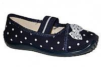 Детские летние туфельки для девочки на резинке (Черные в горох, бант)