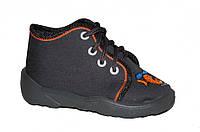 Детские ботиночки для мальчика на шнурках (Серые, с вертолётиком)