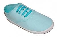 Подростковые летние мокасины для девочки на шнурках (Голубые)