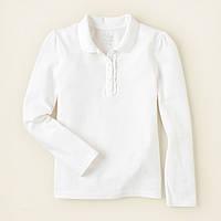 Детская белая кофточка поло для девочки, на рост 104-118, 133-147, 147-155 см. (арт.3789)