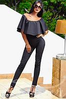 Модный женский комбинезон облегающий без рукавов с воланом брюки узкие штапель
