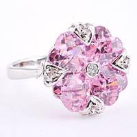 Кольцо-перстень с розовым камнем, р.19