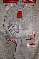 Крестильный костюм на девочку 5 предметов,велюр.