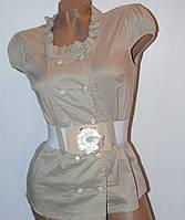 Блуза бежевая с коротким рукавом+пояс, размеры 46,48