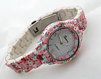 Часы женские - Geneva platinum -  циферблат белый, soft tach, цветы