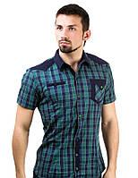 Рубашка мужская в клетку зеленая