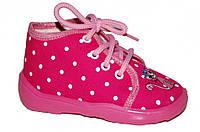 Детские ботиночки для девочки на шнурках (Розовые в горох, с котиком)