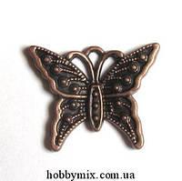"""Метал. подвеска """"бабочка"""" медь (2,5х2 см) 8 шт в уп."""