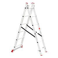 Лестница алюминиевая 2—х секционная универсальная раскладная 2x6ступ. 2.57м Intertool LT—0206