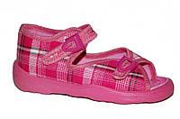 Детские летние сандалии для девочки на 2 застёжки (Розовые в клетку)