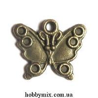 """Метал. подвеска """"бабочка"""" бронза (1,7х1,4 см) 15 шт в уп"""