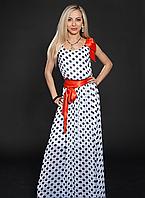Длинное женское летнее платье в горох белое