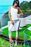 Яркий модный летний женский спортивный костюм двойка майка и легинсы микродайвинг