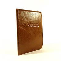 Мужская кожаная обложка для паспорта Desisan уголок коричневая, расцветки в наличии