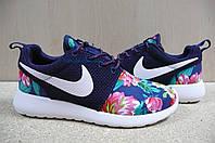 Женские Кроссовки Nike Roshe Run  Print  синие