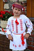 """Вышитая туника-платье для девочки """"Симметрия красоты"""" из домотканого полотна"""
