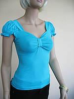 Бирюзовая женская футболка с вырезом в виде банта и рукавами фонариками