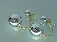 """Серьги  """"Матрёшки"""" (гвоздики) с серебряной глянцевой эмалью."""
