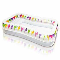 Надувной семейный, детский бассейн Intex 57477, прозрачный с цветными вставками