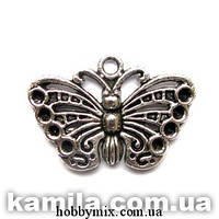 "Метал. подвеска ""бабочка"" серебро (2,5х1,7 см) 6 шт в уп"