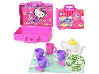 Посуда 1680663, Hello Kitty,чайный сервиз на 3 персоны, чайник, сахарница, чашки 3шт, в чемодане