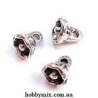 """Метал. подвеска """"цветочек"""" серебро (0,7х0,8 см) 25 шт в уп."""