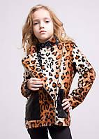 "Пальто ""Леон"" леопард; 104-110, 116, 122, 128, 134, 140 р-ры"