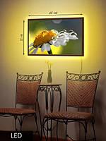 LED Картина Белая ромашка с каплями